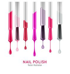 Nail polish examples realistic set vector