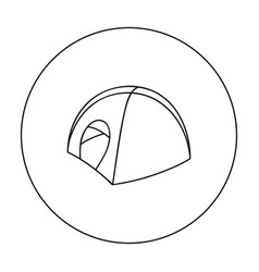 tent icon in outline style isolated on white vector image vector image