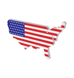 Usa map with american flag texture cartoon icon vector