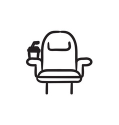 cinema chair with disposable cup sketch icon vector image vector image