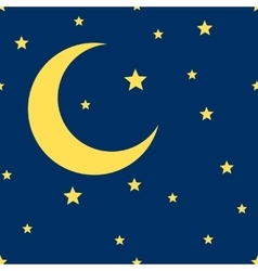 crescent moon and stars seamless pattern vector image vector image
