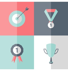 Flat career success icons set vector image vector image