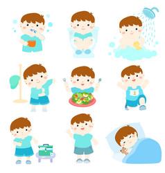 healthy hygiene for boy cartoon vector image