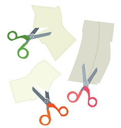 Scissors and paper coupons set - hand drawn vector image vector image