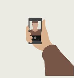 selfie flat banner vector image vector image