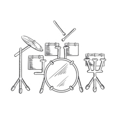 Sketch of drum set with traditional kit vector