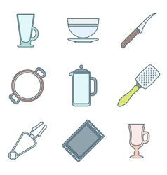 various color outline dinnerware icons set vector image vector image