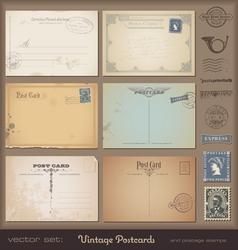 Vintage postcards vector