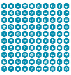 100 natural products icons sapphirine violet vector image
