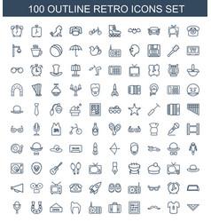 100 retro icons vector image