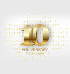 10th anniversary celebration golden template vector