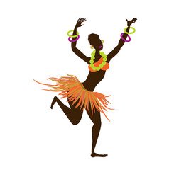 A beautiful african black girl dressed in a vector