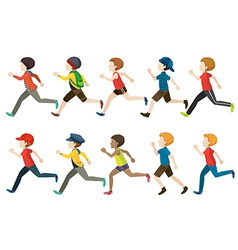 A group of kids running vector image