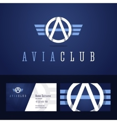 Avia club logo and business card template vector