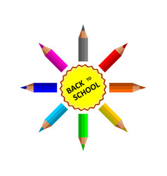 back to school inscription with pencils around vector image
