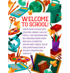 Back to school stationery education poster vector