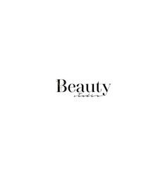 Beauty studio logo with minimal floral design vector