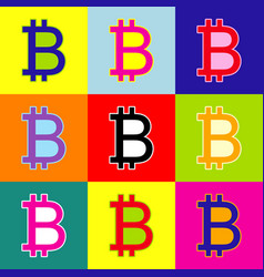 Bitcoin sign pop-art style colorful icons vector