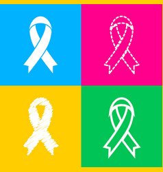 black awareness ribbon sign four styles of icon vector image