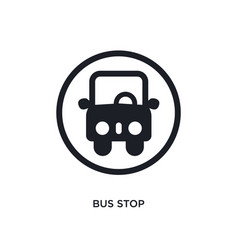 Black bus stop isolated icon simple element from vector