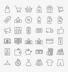 black friday line icons vector image