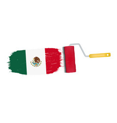 Brush stroke with mexico national flag isolated on vector