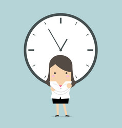 businesswoman with a big clock vector image