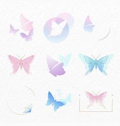Butterfly logo badge pastel aesthetic flat design vector