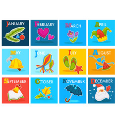 Calendar with cartoon seasonal symbols vector