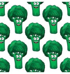 Cartoon broccoli seamless pattern vector image
