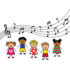 cartoon children sing vector image