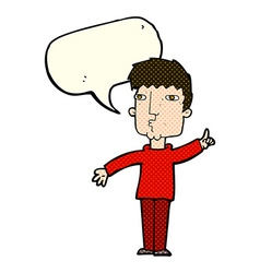 Cartoon man raising point with speech bubble vector