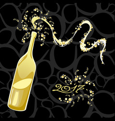 Celebrating the new year bubbly bottle vector