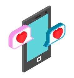 Chat bubbles with heart vector