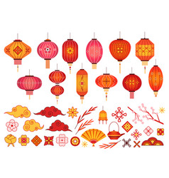 chinese new year elements asian lantern japanese vector image