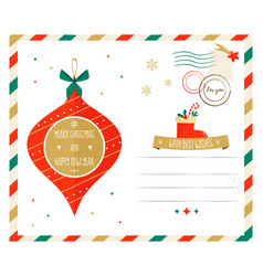 christmas greeting postcard with a decorative ball vector image
