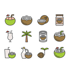 coconut filled outline icon editable stroke vector image