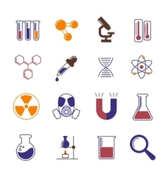 Color chemistry research and science icons vector image
