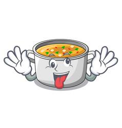 Crazy cartoon homemade stew soup in the pot vector