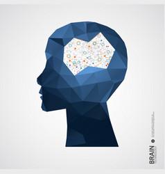 Creative brain concept background with triangular vector