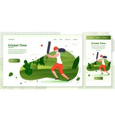 crossplatform set girl cricket vector image