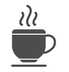 Cup solid icon tea isolated vector