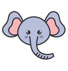Cute and tender elephant head character vector