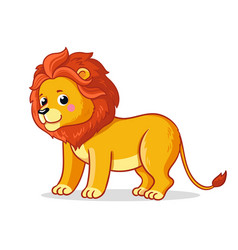 cute young lion stands on a white background vector image