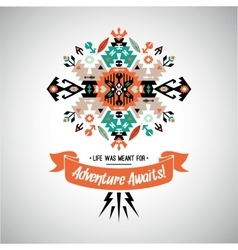 Decorative bright element on native ethnic style vector