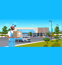 Deliveryman carrying medical products in cardboard vector