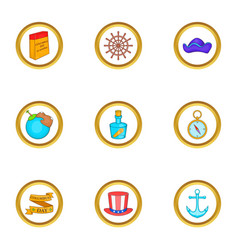 Discoverer icons set cartoon style vector
