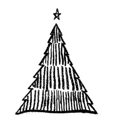 doodle hand drawn christmas tree image vector image