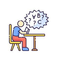 Dyslexia rgb color icon vector