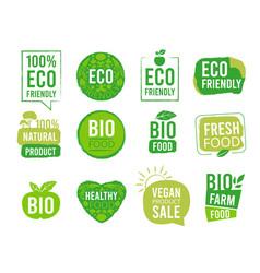 eco sticker vegetarian natural healthy food vector image